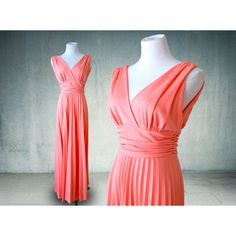 1970s Pink Coral Maxi Dress Grecian Goddess Style Gown ($45) via Polyvore featuring dresses, gowns, long red gown, red evening gowns, coral maxi dress, red maxi dress and red gown