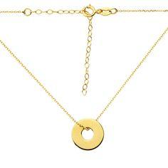 Złoty naszyjnik celebrytka z wyciętym kółkiem (próba 333)