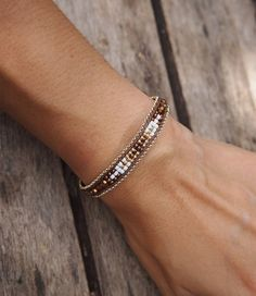 Brown+mix+seed+beaded+Single+Wrap+bracelet+with+Chain+by+G2Fdesign