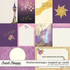 Tangled Inspired, Digital Scrapbooking: #believeinmagic: Tangled Up Cards by Amber Shaw & Studio Flergs