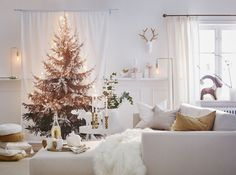 White Christmas interior in Sweden, by Jotex Noel Christmas, White Christmas, Xmas, Scandinavian Christmas, Scandinavian Design, Parfait, Tree Curtains, Best Interior, Interior Design