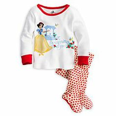 Disney Snow White PJ Pal for Baby | Disney StoreSnow White PJ Pal for Baby - While your little one is dreaming of fairytales, a fairytale princess declares she's ''Dreaming of you.'' She'll love the delecious apple print on the coordinating pants with attached slipper feet featuring no-slip soles for extra bite.