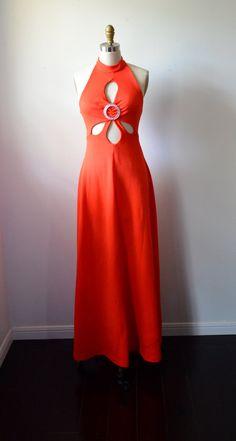 Vintage Dress 1970s KeyHole Dress Orange Red Halter by EadoVintage