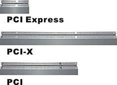 Estilos de BUS de tarjetas controladoras PCI Express X16 especialmente para tarjetas de vídeo por el momento.  PCI-X para todo tipo de tarjetas especialmente de comunicaciones: puertos y redes. PCI todo tipo de tarjetas.