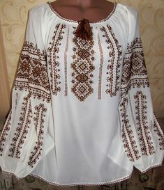 "Buy Ukrainian vyshivanka female ""Coffee Embroidery blouses in Kiev Ukraine — from Krestik Kiev, ChP in catalog Allbiz! Polish Embroidery, Embroidery On Clothes, Embroidered Clothes, Embroidered Blouse, Cross Stitch Embroidery, Embroidery Patterns, Lace Beadwork, Ukrainian Dress, Palestinian Embroidery"