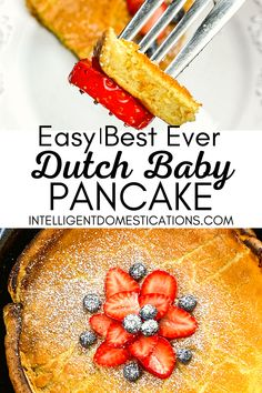 How to make a Dutch Baby Pancake in an iron skillet. This old fashioned recipe is baked in the oven for a puffy pancake. Delicious topped with fresh berries and warm maple syrup Puffy Pancake, Dutch Baby Pancake, Baby Pancakes, Pancakes Easy, Pork Recipes, Real Food Recipes, Easy Recipes, Delicious Breakfast Recipes, Delicious Dishes