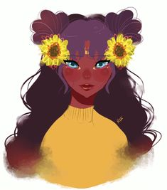 Trendy How To Draw A Sunflower Posts Ideas Black Girl Cartoon, Black Girl Art, Black Women Art, Cartoon Kunst, Cartoon Art, Wallpapers Sailor Moon, Arte Black, Art Et Design, Black Anime Characters