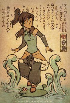 Korra-kami by ~K-Y-H-U Korra in Okami-style