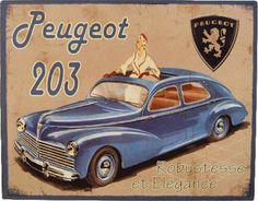 Peugeot 203 – Cabriolet Robustesse & Elegance : Plaque décorative rétro en métal représentant une Peugeot 203. Idéal pour créer une déco dans l'ambiance vintage mécanique dans un garage, une concession automobile ou un atelier de réparation.