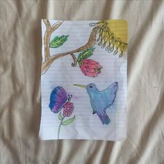 Bird and flower-Paper, color pencils (9yrs. old)