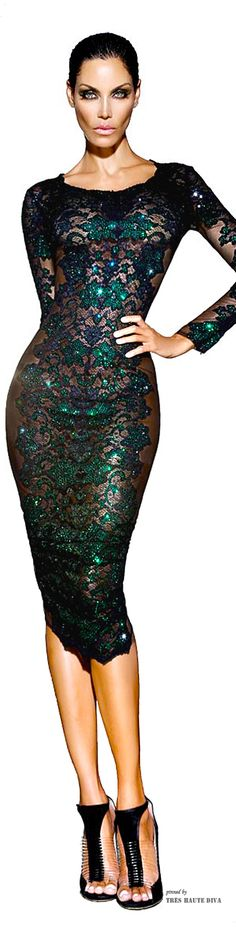 Camille Flawless Black and Emerald Swarovski Crystal Dress