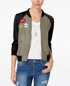 Material Girl Juniors' Patched Bomber Jacket, Only at Macy's