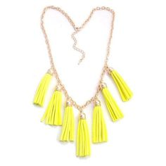 Neon Yellow Lucky Seven Tassel Necklace ❤ liked on Polyvore featuring jewelry, necklaces, neon yellow necklace, tassel necklace, neon yellow jewelry, tassle necklace and tassel jewelry