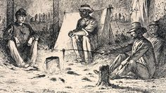 """Edwin Forbes Civil War Drawings   ... on the Battle Field,"""" Edwin Forbes, copper plate etching, 1876, detail """"A Hasty Supper"""""""