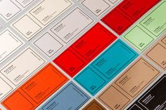 A range of colorful business cards.