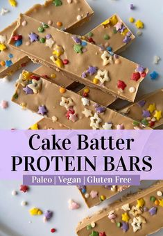 These cake batter protein bars are an easy protein bar recipe that's Paleo, Vegan and gluten free. They're made with pea protein, low in added sugar and have a smooth, creamy texture. They stay solid at room temperature - making them perfect to pack for a post workout snack or school lunch. #proteinbar #birthdaycake #peaprotein #paleo #vegan Easy Protein Bars, Protein Bar Recipes, Healthy Breakfast Recipes, High Protein, Breakfast Ideas, Birthday Cake Protein Bars, Healthy Birthday Cakes, Birthday Cake Flavors, Egg Free Recipes