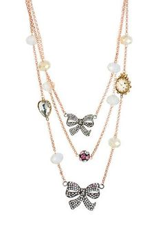 BETSEY JOHNSON Crystal Bow Illusion Necklace - Lord