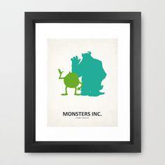 Disney Pixar's Monster's Inc. -8x10 Art Metallic Print- movie posters, room decor, baby, kids, children, mike wazowzki, sully, minimalist. $15.50, via Etsy.