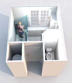 Aménagement d'une salle de bain et de toilettes - Perspective réalisée avec le logiciel Sweet Home 3D de l'idée n°2