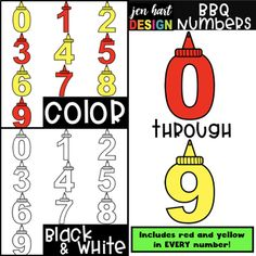 Summer BBQ Numbers Clip Art Set includes 30 clipart pieces! This set includes numbers from 0-9 in both red and yellow! As with all jen hart DESIGN clipart products, each set also includes blackline images!   More Thematic/Holiday  sets are being made now, so stay tuned!  **This set is not a font, it is a CLIPART set!**  Other festive alphabet, number, and shape sets can be found here All the Sets  Each clipart image is saved as a .png file at 3,, ppi, which allows you to resize while…