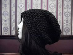 Teen Adult Charcoal Dark Gray Slouch Hat by MarlowsGiftCottage, $20.00
