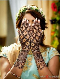 from - We're batting away the Monday blues with this pretty henna peekaboo! 😜😜 For latest henna ideas head to the site, we promise you' Wedding Henna Designs, Latest Bridal Mehndi Designs, Stylish Mehndi Designs, Beautiful Mehndi Design, Mehndi Designs For Hands, Latest Mehndi, Hand Designs, Lehenga Choli, Anarkali
