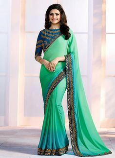 Exclusive bollywood saree designs and huge collection of latest bollywood sarees. Shop this Prachi Desai embroidered and patch border work shaded saree.