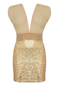 The jones + jones Stephanie Dress in gold.