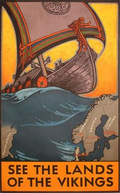 See the Land of the Vikings - Vintage Norway Travel Poster - Scandinavian Comics Vintage, Vintage Travel Posters, Vintage Ads, Vintage Style, Vintage Images, Old Poster, Retro Poster, Print Poster, Poster Ads