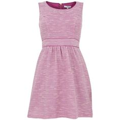 Pink Boucle Sleeveless Skater Dress (€15) ❤ liked on Polyvore featuring dresses, pink purple dress, pink day dress, purple sleeveless dress, no sleeve dress and zip up dress