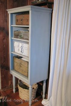 An old cabinet gets legs! Can't wait to do this with my little cabinet with doors!