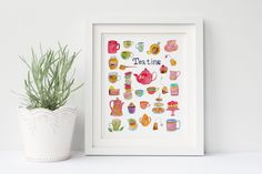 New to SandraArtStudio on Etsy: Tea time print digital print with pretty tea clip art watercolor art print wall decoration INSTANT DOWNLOAD (0032) (4.00 EUR)