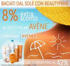 SOLARI AVENE EAU THERMALE AL PREZZO PIU BASSO SU WEB:  Per te un Extra Sconto dell'8% su tutti i solari già scontati fino al 42%...  Esclusiva Beautyprivé