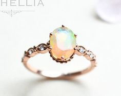 14K/18K Opal Engagement Ring with Halo Diamond, Solid Gold Ethiopian Fire Opal Promise Ring, Rose Gold Yellow Gold White Gold, Natural Opal by MichelliaDesigns