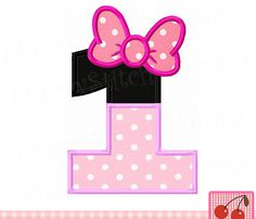 Birthday number 1,Minnie Number 1 Applique,Birthday Embroidery Applique Design -for 4x4 5x7 6x10 hoop-Machine Embroidery Design by CherryStitchDesign on Etsy