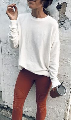 #winter #outfits white crew-neck long-sleeve shirt and brown fitted bottoms