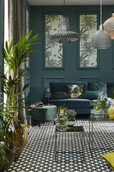 Colourful Living Room, Living Room Green, Green Rooms, My Living Room, Living Room Decor, Luxury Interior Design, Interior Exterior, Estilo Tropical, Open Plan Kitchen Living Room