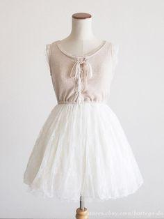 LIZ LISA Lace-up 2-Layered Soft Tulle JSK Jumper Dress Lolita Kawaii Japan #LIZLISA #JumperdressJSKPeplumTunic #Party