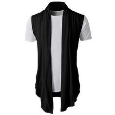 Homme T-Shirt sans Manches Cardigan Occasionnel Slim Fit Chemises habillées  Formal Tops Malloom  255bd039c49