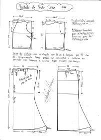 Esquema de modelagem de vestido de festa Tulipa tamanho 44.