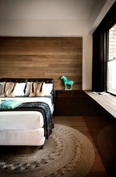 Wood And Leather Bed Design Ideas, Pictures, Remodel, and Decor -reclaimed wood behind the headboard.. would tie in lighter/rustic wood if we use that in sitting room for tables and cabinets. she liked that look in the bathroom