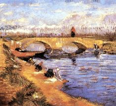 The Gleize Bridge over the Vigneyret Canal, 1888, Vincent van Gogh Size: 45.7x48.9 cm