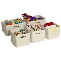 Tan Storage Bins (Set of 5) - Overstock™ Shopping - The Best Prices on Kids' Furniture
