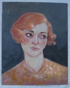 Original Oil Painting Portrait Flapper Girl by TheBrilliantMagpie