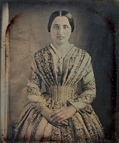 :::::::::: Antique Photograph :::::::::: Beautifully Dressed Woman, circa 1843 ~ 1/6th Plate Daguerreotype.