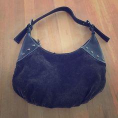 Black Studded Corduroy Handbag NWOT. Buckle strap. Zipper closure and zippered pockets. Bags
