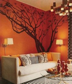 Brown and orange Living Room Design. Brown and orange Living Room Design. orange Walls with Brown & Tan Furniture & Hardwood Floors Orange Rugs, Orange Walls, Orange Bedroom Walls, Orange Sofa, Orange Pillows, Bedroom Red, Blue Walls, Coral Rug, Living Room Paint