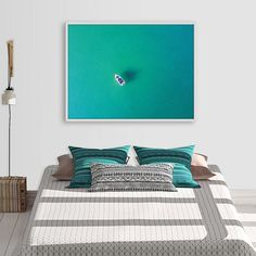 Aerial Ocean Print, Teal and Turquoise Decor, Aerial Yacht Wall Art, Coastal Wall Art, Ocean Poster, Digital Download, Living Room Decor