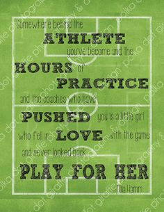 """Items similar to Mia Hamm Quote Soccer Print """"Somewhere behind the athlete."""" on Etsy - Beauty Black Pins Soccer Memes, Soccer Quotes, Golf Quotes, Soccer Tips, Soccer Stuff, Sports Bulletin Boards, Soccer Motivation, Mia Hamm, Soccer Inspiration"""