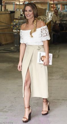 Sam Faiers works dreamy bohemian lace blouse with chic wrap-over skirt - Celebrity Fashion Trends
